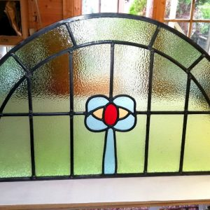 Firewolf Glass Antique Edwardian Blue Bow Stained Glass Window