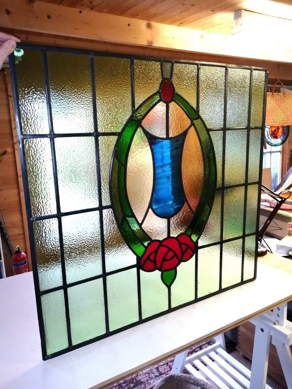 Firewolf Glass Antique Edwardian Shield Stained Glass Window