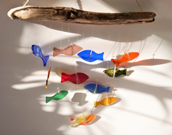 Glass fish and driftwood mobile
