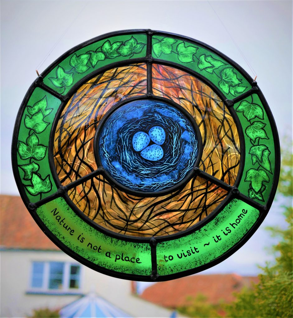 Natures nest stained glass